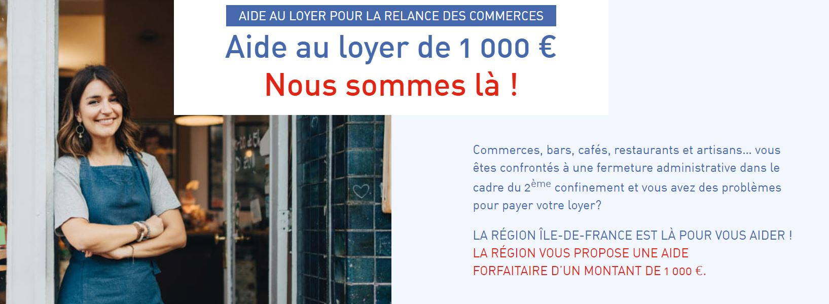 Commerce : aide au loyer