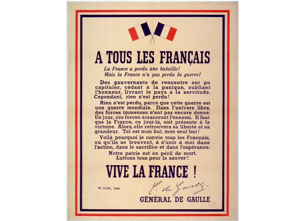 L'Appel du 18 juin par le Général de Gaulle