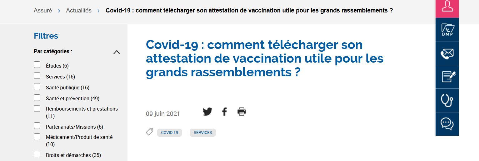 Obtenir son attestation de vaccination